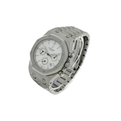 View 2. Thumbnail of Lot 12. REFERENCE 25860ST.OO.110ST.05 ROYAL OAK A STAINLESS STEEL AUTOMATIC CHRONOGRAPH BRACELET WRISTWATCH WITH DATE AND BRACELET, DONATED AND SIGNED BY GEORGE H.W. BUSH TO A SAVE THE CHILDREN CHARITY IN 2007.