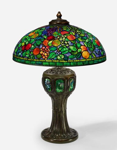 "View 1. Thumbnail of Lot 425. TIFFANY STUDIOS   A RARE ""FRUIT"" TABLE LAMP."