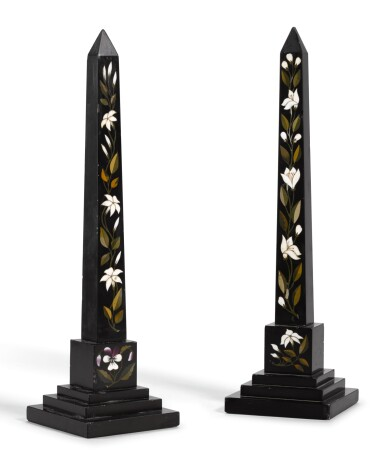 View 3. Thumbnail of Lot 84. A PAIR OF ASHFORD BLACK MARBLE AND MARBLE INLAID OBELISKS SECOND HALF OF THE 19TH CENTURY.