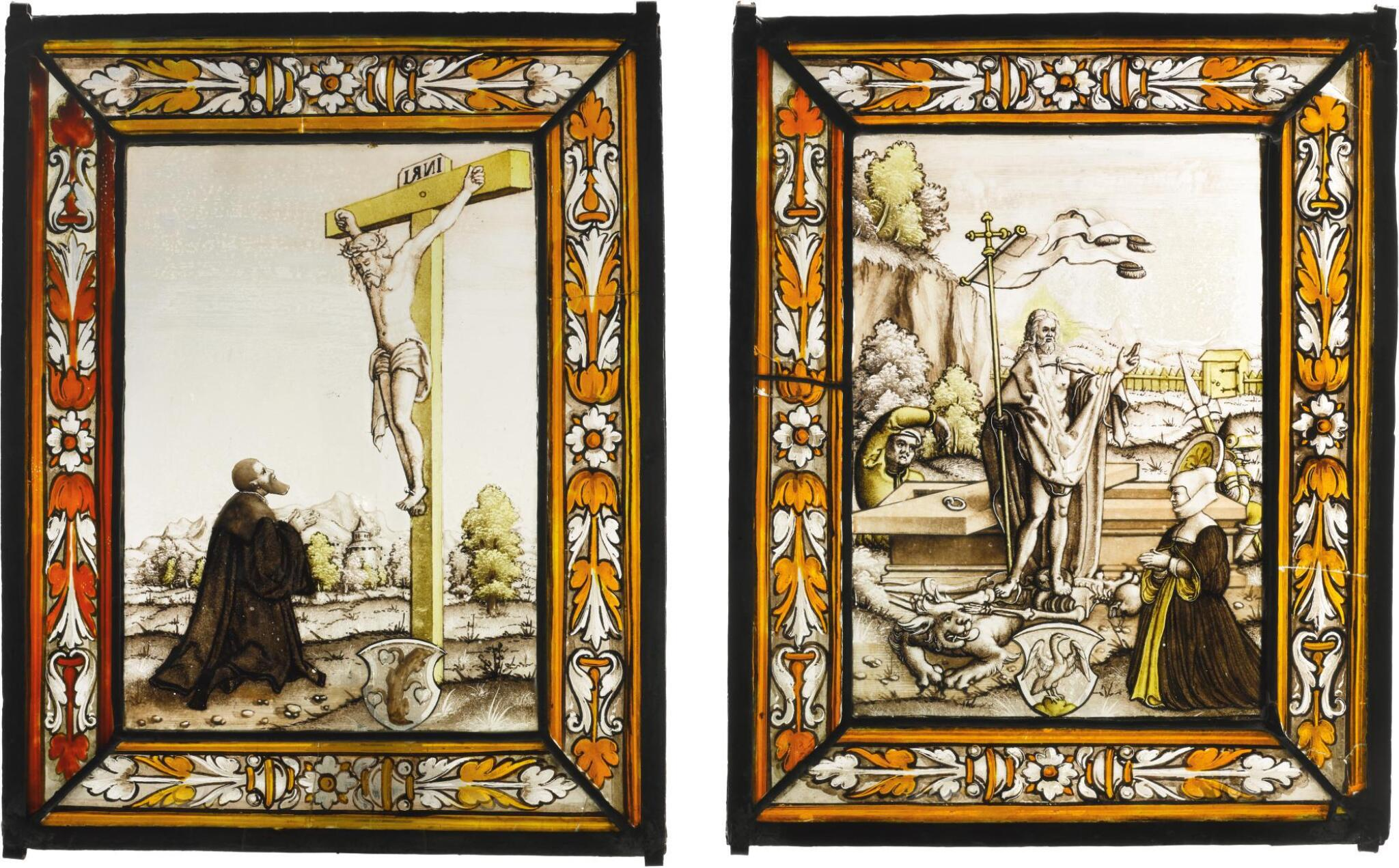 SOUTHERN GERMAN OR AUSTRIAN, CIRCA 1520   PAIR OF PANELS WITH THE CRUCIFIXION AND THE RESURRECTION