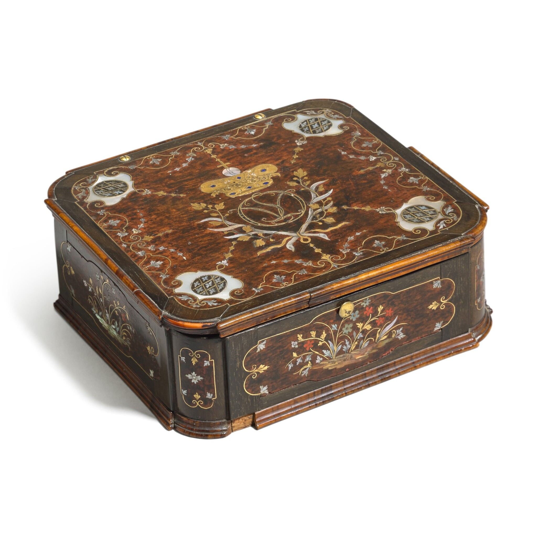 View full screen - View 1 of Lot 14. A German gilt-brass and mother-of-pearl inlaid wood casket, Bavaria, circa 1725.