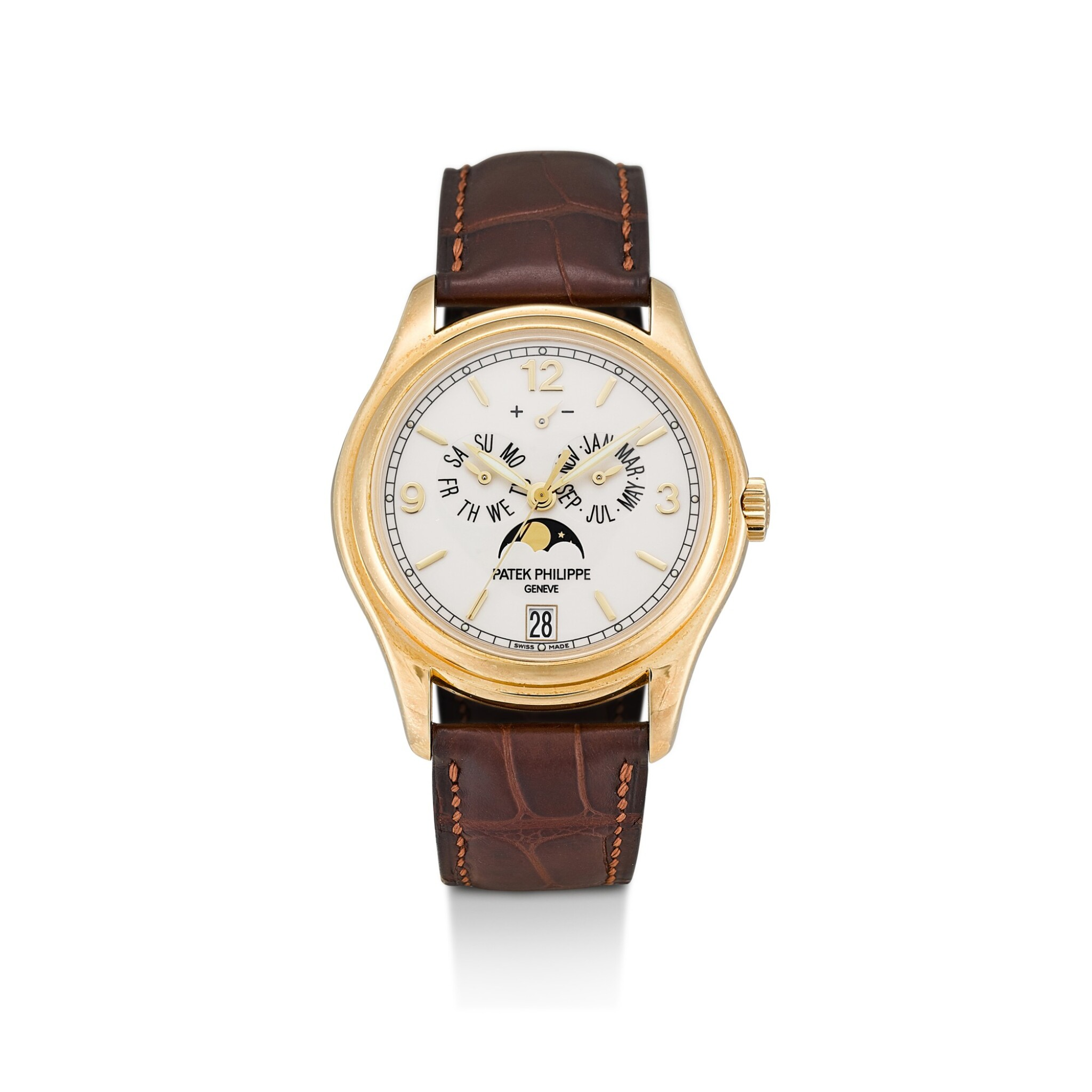 View full screen - View 1 of Lot 8237. PATEK PHILIPPE | REFERENCE 5146   A YELLOW GOLD ANNUAL CALENDAR WRISTWATCH WITH MOON PHASES AND POWER RESERVE INDICATION, CIRCA 2008.