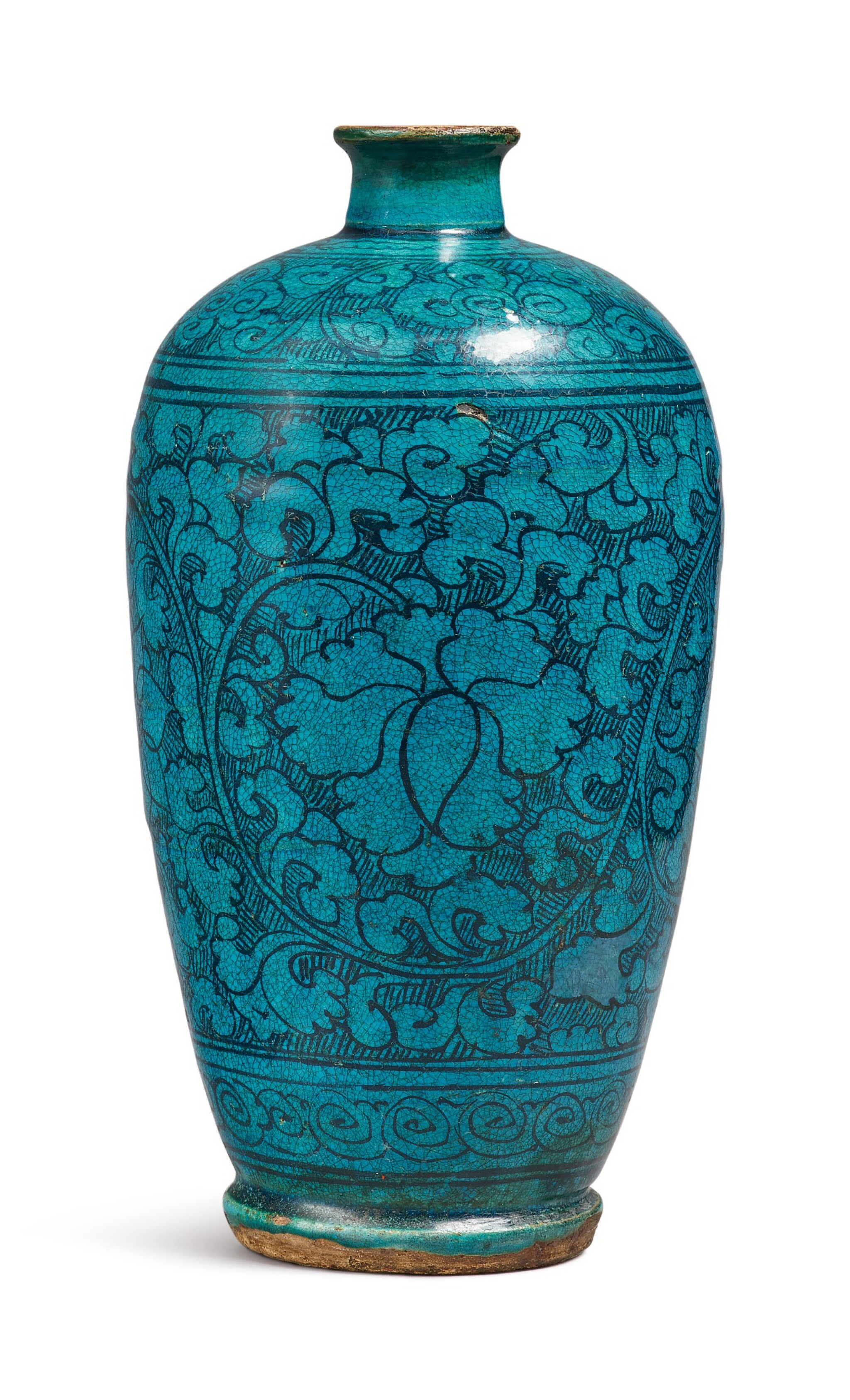 View 1 of Lot 1068. A TURQUOISE-GLAZED 'CIZHOU' 'FLORAL' MEIPING, YUAN / MING DYNASTY.
