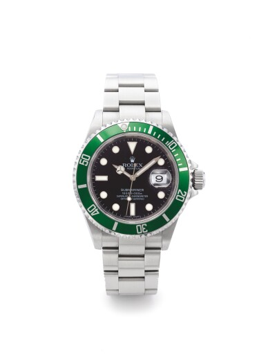 "ROLEX | REF 16610T SUBMARINER ""KERMIT"", A STAINLESS STEEL AUTOMATIC WRISTWATCH WITH DATE AND BRACELET CIRCA 2007"