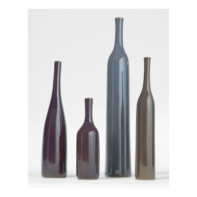"""View 1. Thumbnail of Lot 219. JACQUES RUELLAND AND DANI RUELLAND   FOUR """"BOUTEILLE"""" VASES."""