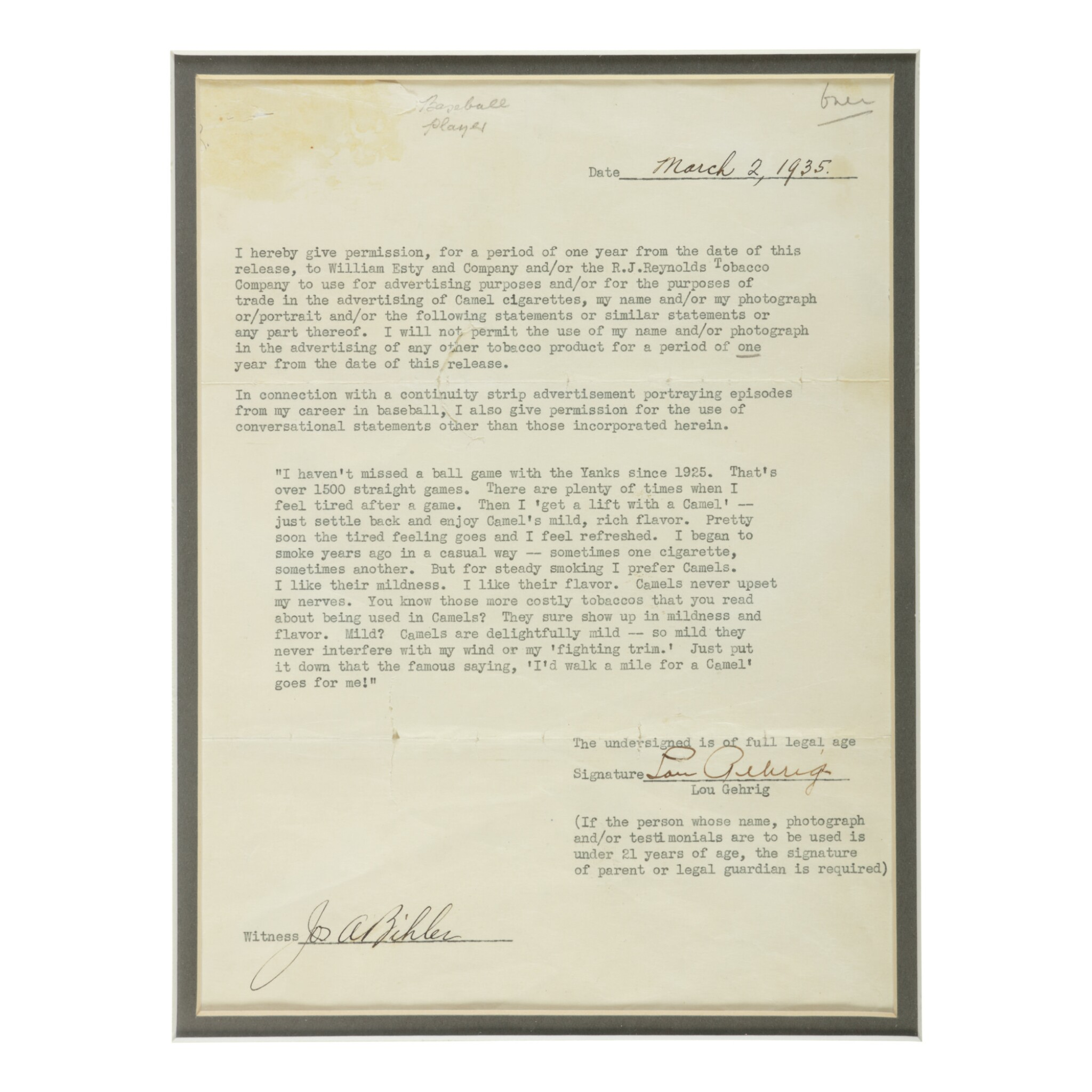 """View full screen - View 1 of Lot 183. GEHRIG, LOU 