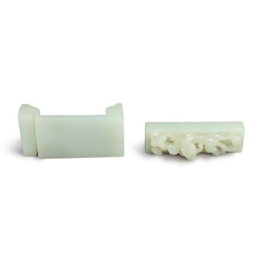 View 4. Thumbnail of Lot 91. Two pale celadon jade scholar's articles, Qing dynasty, 19th century.
