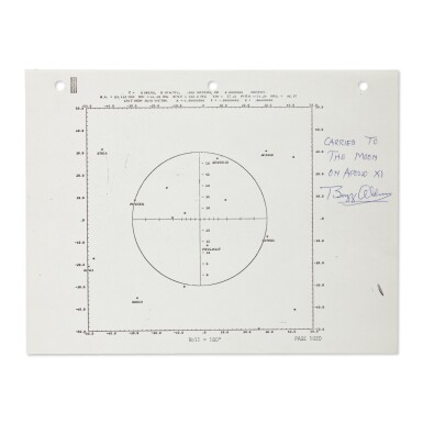 [APOLLO 11]. FLOWN APOLLO 11 FLIGHT PLAN SHEET - A STAR CHART USED DURING THE FLIGHT, SIGNED & INSCRIBED BY ALDRIN