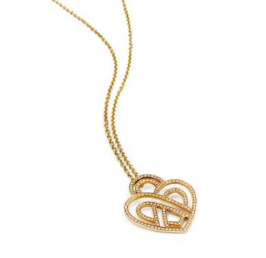 View 3. Thumbnail of Lot 121. Poiray, Diamond necklace [Collier diamants], 'Coeur entrelacé'.