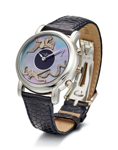 View 2. Thumbnail of Lot 104. ULYSSE NARDIN   SAN MARCO, REFERENCE 769-20, A PLATINUM HOUR REPEATING AND HALF HOUR STRIKING WRISTWATCH WITH EROTIC AUTOMATON AND MOTHER-OF-PEARL DIAL, CIRCA 1998.
