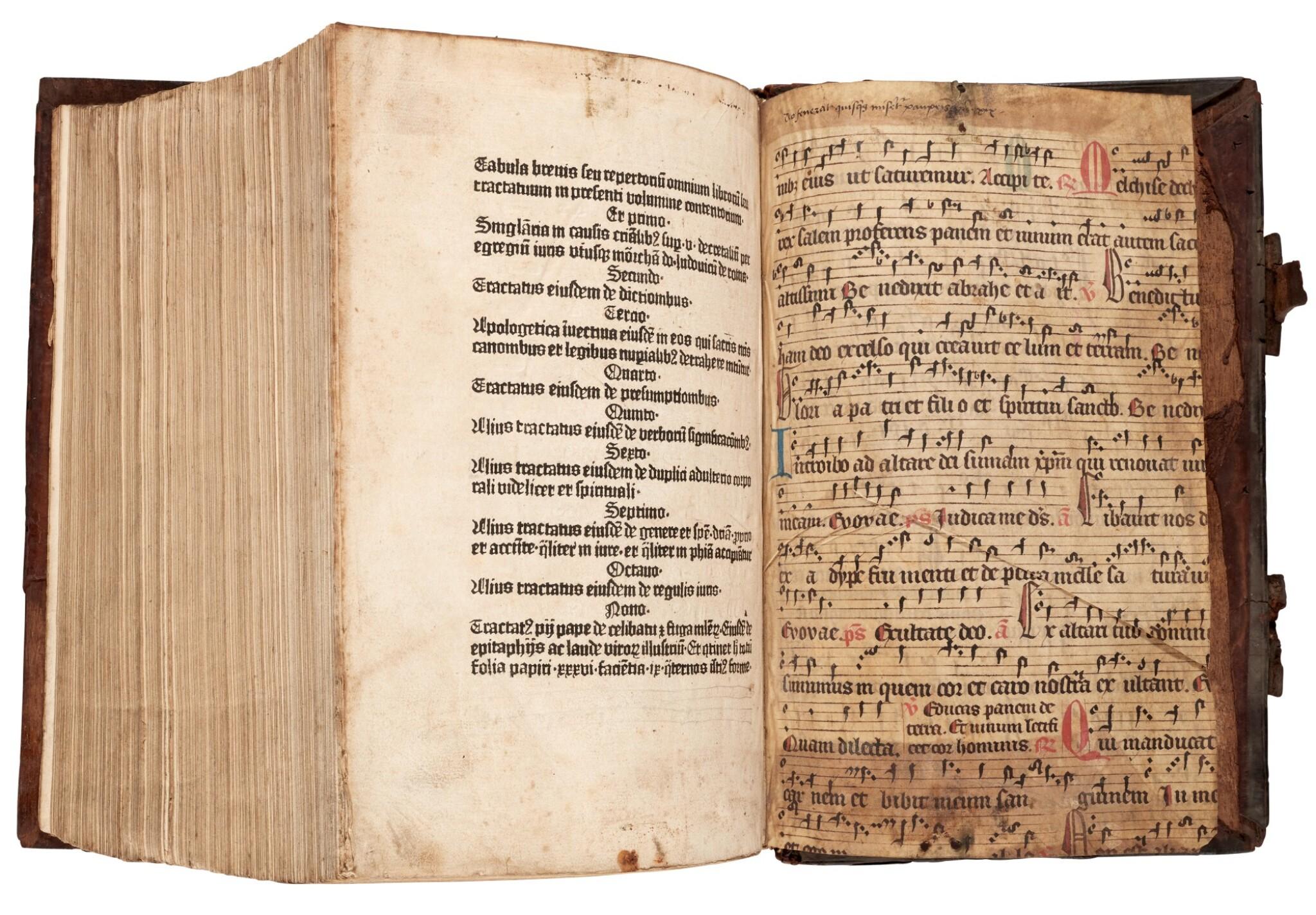 View full screen - View 1 of Lot 110. Dutch Prototypographer, Inventory, single sheet, [Utrecht, 1460s], in binding of Eck, Homiliarius, 1536-1540.