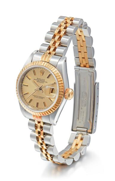 View 2. Thumbnail of Lot 8095. ROLEX   DATEJUST, REFERENCE 69173, A STAINLESS STEEL AND YELLOW GOLD WRISTWATCH WITH DATE AND BRACELET, CIRCA 1988.