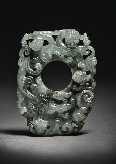 View 3. Thumbnail of Lot 203.  A SUPERB ARCHAISTIC SPINACH-GREEN JADE PENDANT,  QING DYNASTY, QIANLONG PERIOD .