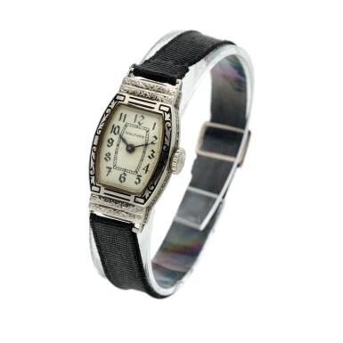 View 2. Thumbnail of Lot 162. A white gold wristwatch, Circa 1925 .