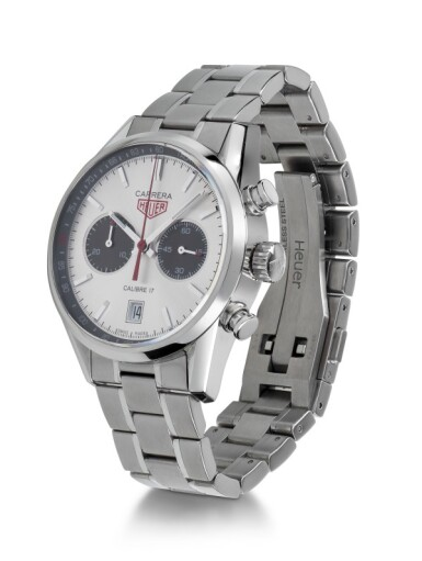 TAG HEUER   CARRERA JACK HEUER, REF CV2119 LIMITED EDITION STAINLESS STEEL CHRONOGRAPH WRISTWATCH WITH DATE AND BRACELET CIRCA 2012