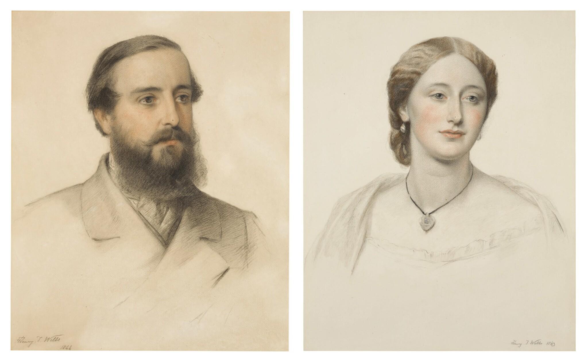 View full screen - View 1 of Lot 54. Portrait of James Stewart Hodgson; Portrait of Gertrude Agatha Stewart Hodgson.