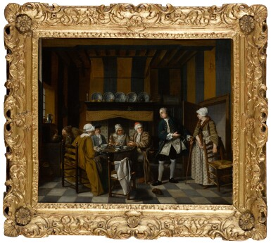 View 2. Thumbnail of Lot 66. JAN JOSEF HOREMANS THE YOUNGER | An elegant interior with figures having a tea party.
