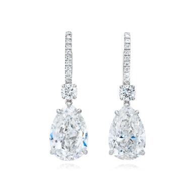 View 1. Thumbnail of Lot 16. Pair of Diamond Earrings.