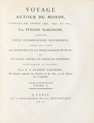 View 2. Thumbnail of Lot 205. FLEURIEU -- [MARCHAND].Voyage autour du monde. An VI - An VIII. 3 vol in-4 et un Atlas in-4. Veau flammé de l'époque.