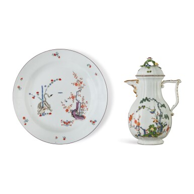 A MEISSEN LARGE CIRCULAR DISH FROM THE 'GELBER LOWE' SERVICE, AND A MEISSEN KAKIEMON COFFEE POT AND COVER, CIRCA 1735-45