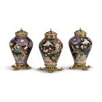 A SET OF THREE JAPANESE IMARI GILT BRONZE-MOUNTED PORCELAIN BALUSTER VASES (JINKO TSUBO), NOW MOUNTED AS LAMPS, THE MOUNTS 19TH CENTURY, THE PORCELAIN 18TH CENTURY