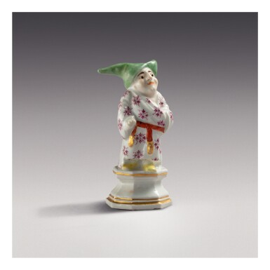A MEISSEN FIGURE OF A DWARF, 'MONSIEUR PIPEROUK' THE PORCELAIN CIRCA 1725, THE DECORATION PROBABLY LATER