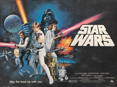STAR WARS, BRITISH RELEASE POSTER WITH AMERICAN STYLE C DESIGN, TOM WILLIAM CHANTRELL, 1977