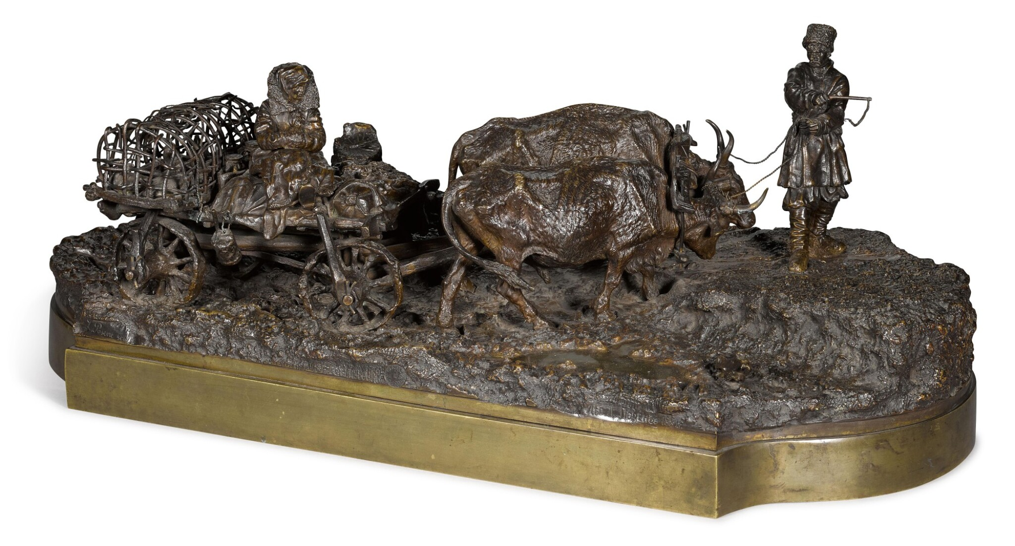 View full screen - View 1 of Lot 287. Taking the Ducks to Market: A bronze figural group, cast by Woerffel, after the model by Leonid Posen (1849-1921), circa 1890.