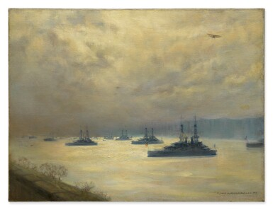 MARY FAIRCHILD MACMONNIES LOW | BATTLESHIPS ON THE HUDSON RIVER (THE TURN OF THE TIDE)