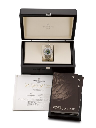View 4. Thumbnail of Lot 361. PATEK PHILIPPE   WORLD TIME, REF 5131/1P, PLATINUM WORLD TIME WRISTWATCH WITH CLOISONNE ENAMEL DIAL AND BRACELET, CIRCA 2018.