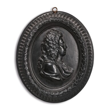 A WEDGWOOD AND BENTLEY BLACK BASALT OVAL PORTRAIT MEDALLION CIRCA 1775