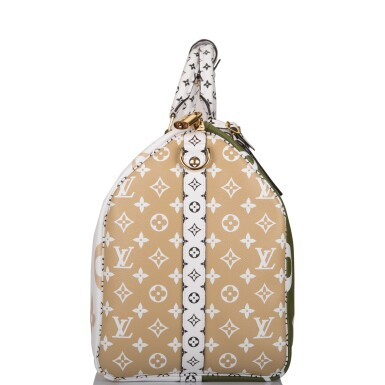 View 3. Thumbnail of Lot 121. Louis Vuitton Khaki Green Keepall Bandoulière 50 of Giant Monogram Canvas with Polished Brass Hardware .