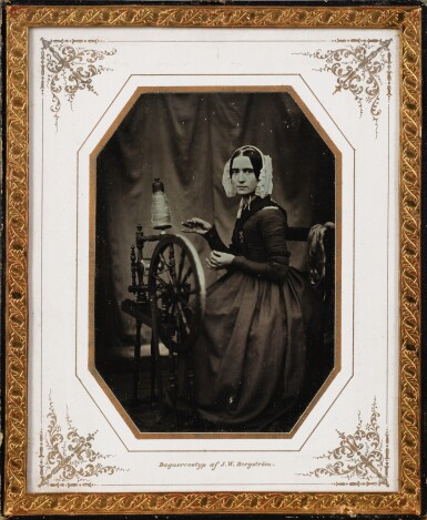 JOHAN WILHELM BERGSTRÖM | PORTRAIT OF THE PHOTOGRAPHERS WIFE AT THE SPINNING WHEEL, 1844-1852