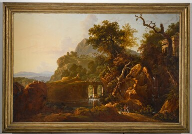 View 2. Thumbnail of Lot 198. A capriccio landscape with travellers below a rocky outcrop.