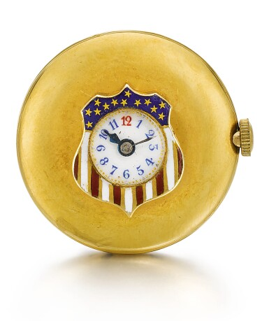 View 2. Thumbnail of Lot 22. LONGINES   [浪琴]  | A GOLD AND ENAMEL BUTTON HOLE WATCH IN THE SHAPE OF A STYLISED AMERICAN FLAG  CIRCA 1910  [ 黃金畫琺瑯懷錶備袖珍錶盤、飾美國國旗圖案,年份約1910].