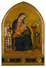 Madonna Nursing the Christ Child with Saints Lawrence and Margaret; Predella: the Man of Sorrows, Mater Dolorosa, and Saint John the Evangelist, with two coats of arms