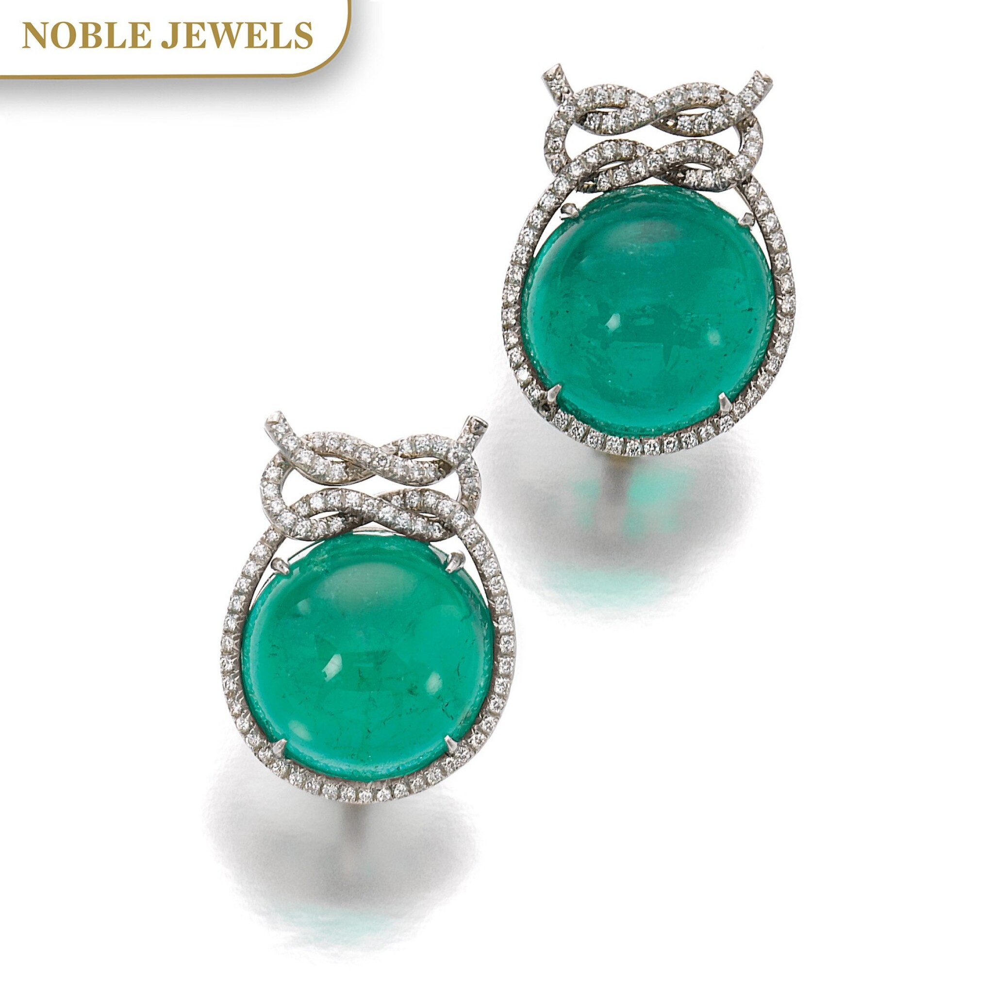 View full screen - View 1 of Lot 16. VERDURA   PAIR OF EMERALD AND DIAMOND EAR CLIPS.
