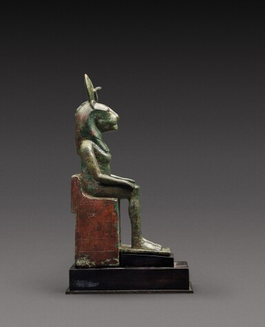 View 2. Thumbnail of Lot 38. An Egyptian Bronze Figure of a Lion-Headed Goddess, 26th Dynasty, 664-525 B.C..