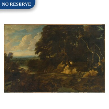 View 1. Thumbnail of Lot 60. An extensive landscape with figures along a path.