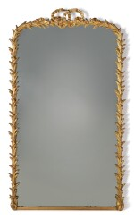 A LOUIS XVI STYLE GILTWOOD OVERMANTEL MIRROR, 19TH CENTURY