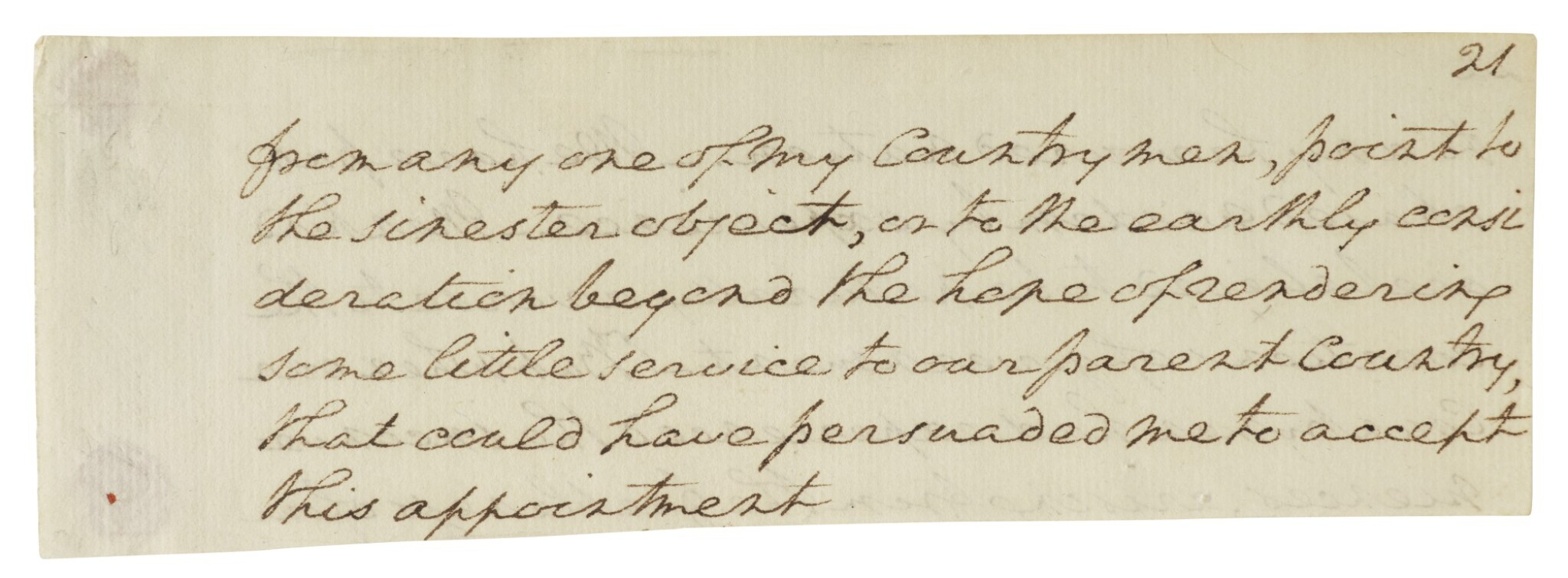 View full screen - View 1 of Lot 164. WASHINGTON, GEORGE | Autograph manuscript fragment from Washington's undelivered first Inaugural Address .