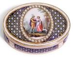 A PEARL-SET GOLD AND ENAMEL SNUFF BOX, HANAU, CIRCA 1795