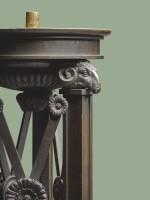 A PAIR OF REGENCY PATINATED BRONZE PEDESTALS, CIRCA 1810