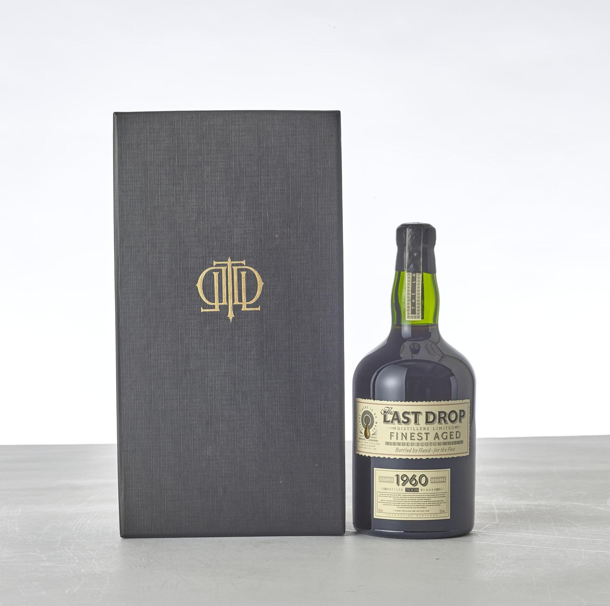 View full screen - View 1 of Lot 2069. The Last Drop Finest Aged Blended Scotch Whisky 52 abv 1960 (1 BT70).