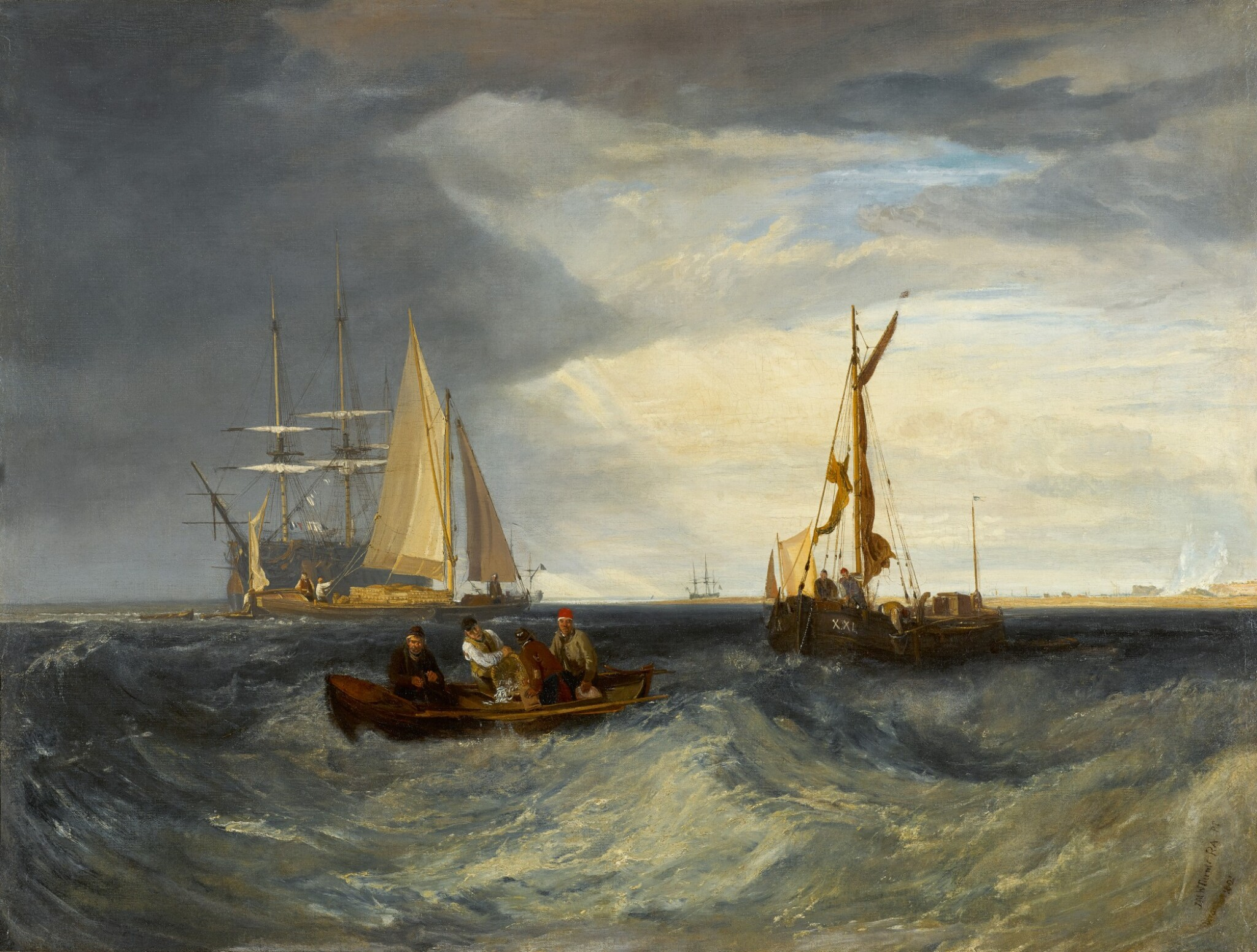 View full screen - View 1 of Lot 50. Purfleet and the Essex Shore as seen from Long Reach | 《在朗里奇眺望珀弗利特與埃塞克斯海岸》.