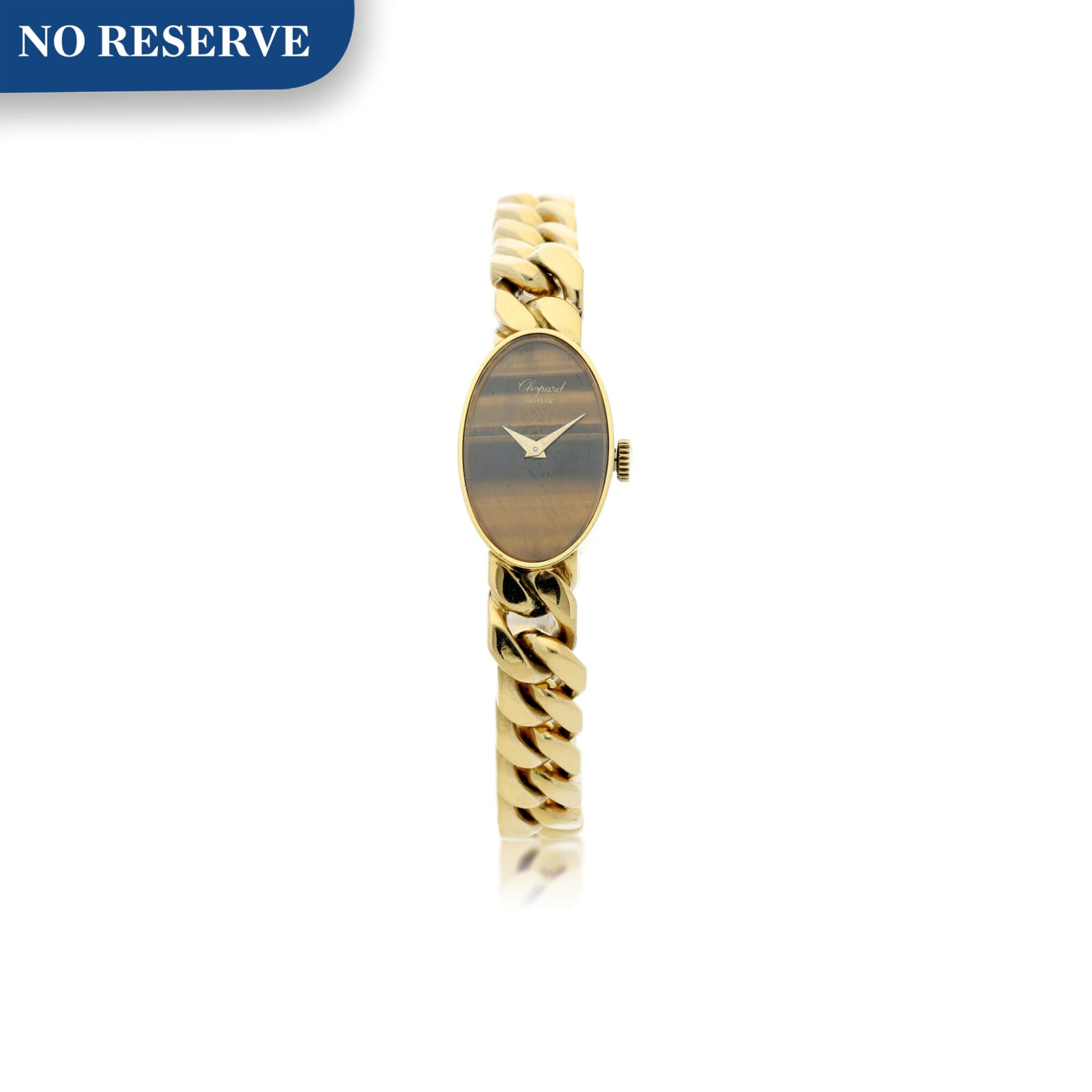 View full screen - View 1 of Lot 221. REFERENCE 5026/1 A LADY'S YELLOW GOLD BRACELET WATCH WITH TIGER EYE DIAL, CIRCA 1990'S.