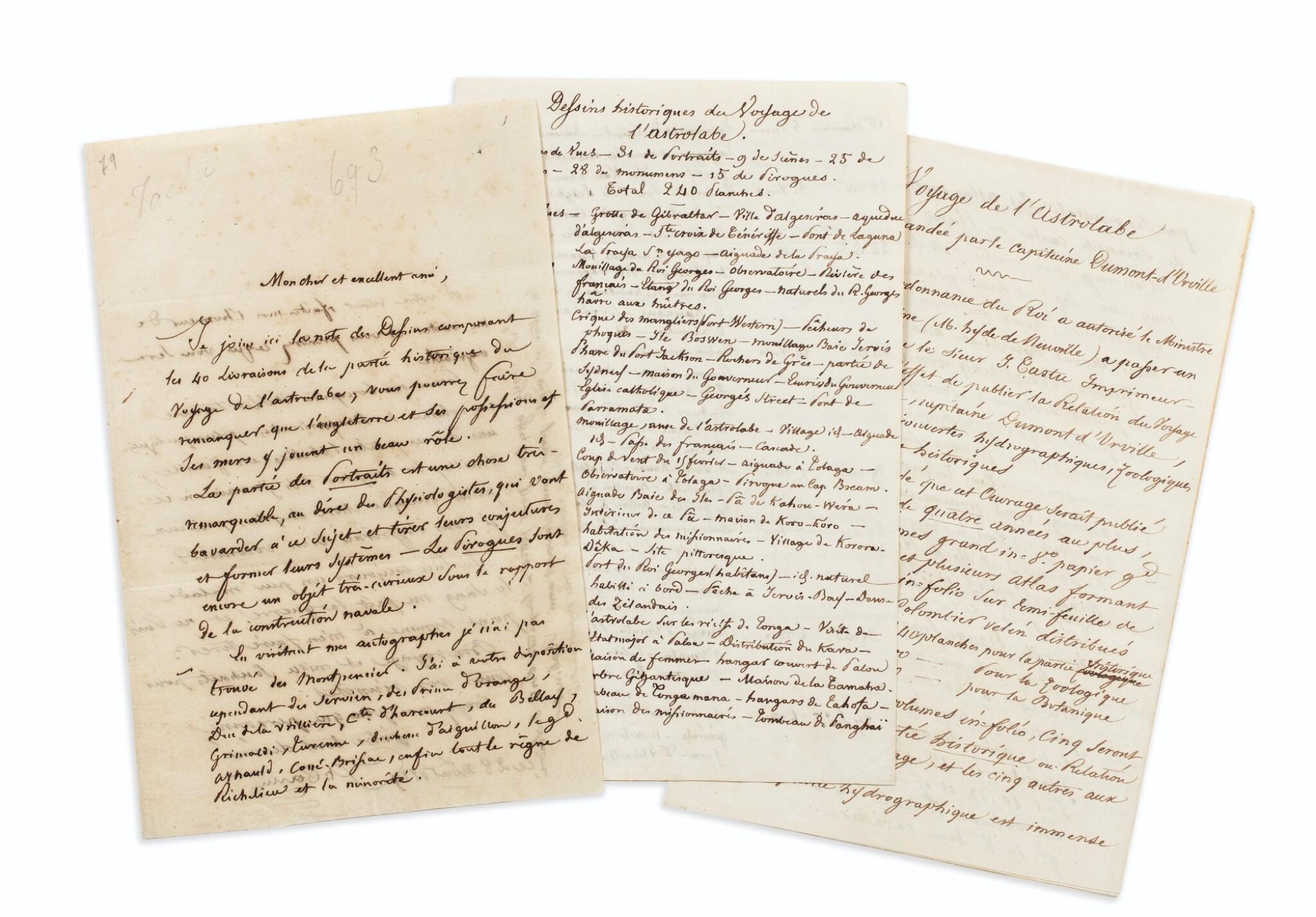 View full screen - View 1 of Lot 214. TASTU (J.).Lettre et notes autographes signées à F. Moore. Paris, 28 août 1829. 2 et 14 pages in-8..
