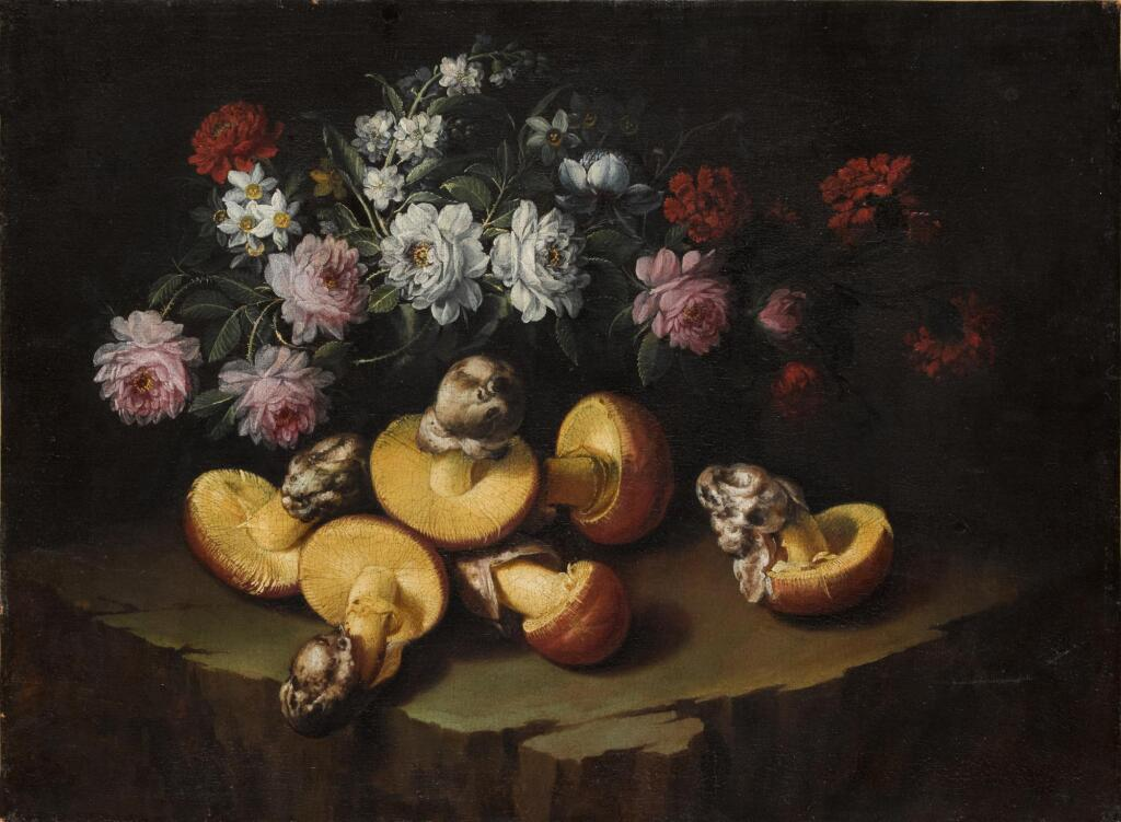 ITALIAN SCHOOL, CIRCA 1700 | Still life of peonies, geraniums, daffodils and ovuli on a stone ledge