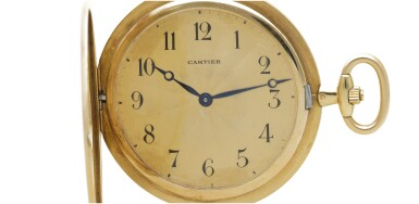 View 5. Thumbnail of Lot 34. CARTIER |  A YELLOW GOLD AND ENAMEL DEMI-HUNTING CASED WATCH, CIRCA 1920.