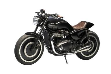 View 3. Thumbnail of Lot 2. Berluti   Triumph Motorcycle, Helmet and Boots (Moto Triumph, Casque et Bottines) [3 Items / Articles].